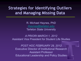 Strategies for identifying outliers and managing missing data.