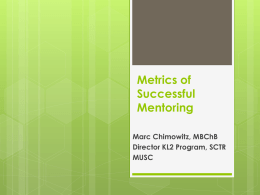Metrics of Successful Mentoring