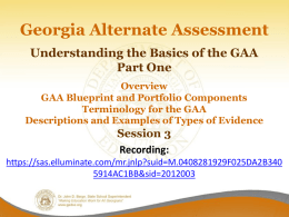 Basics of the GAA, Part 1 - Georgia Department of Education