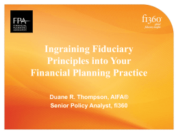 Ingraining Fiduciary Principles into your Financial - Chapters