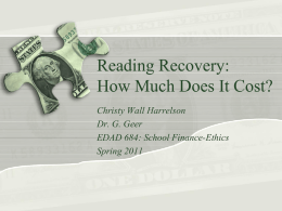 Reading Recovery- How Much Does It Cost