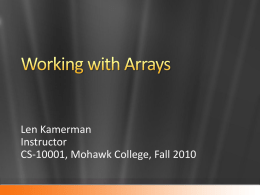 Working with Arrays