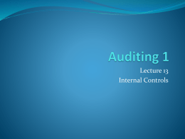 Auditing 1 L13 & 14 Internal Controls