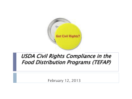 USDA Civil Rights Compliance in the Food Distribution Programs