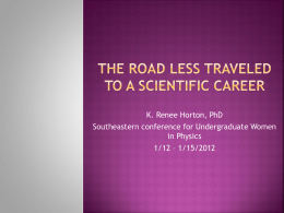 The road less traveled to a scientific career