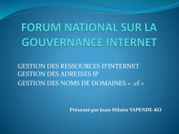 FORUM NATIONAL SUR LA GOUVERNANCE INTERNET - ACA-IAI