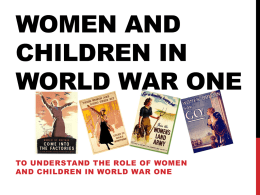 Women and Children in World War One