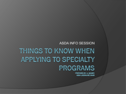 THINGS TO KNOW WHEN APPLYING TO SPECIALTY