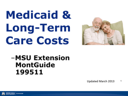 Medicaid and Long-Term Care Costs