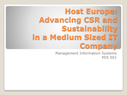 Host Europe: Advancing CSR and Sustainability in a Medium Sized