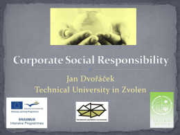 Jan Dvořáček, Corporate Social Responsibility