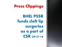 Press Clippings BHEL PSSR funds cleft lip surgeries as a part of