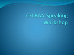 CELBAN Speaking Workshop - English-for