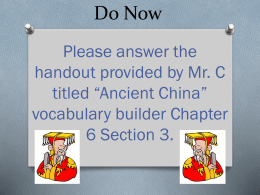 Chapter 6 Section 4 & 5 The Han Dynasty