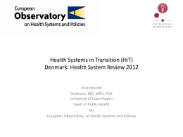 Health Systems and Policy Analysis