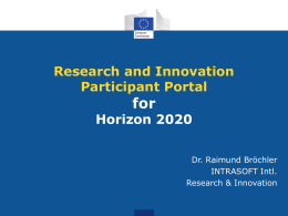 Research and Innovation Participant Portal for Horizon 2020