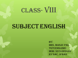 CLASS- VIII SUBJECT: ENGLISH - e-CTLT