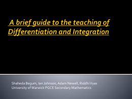A brief guide to the teaching of Differentiation and