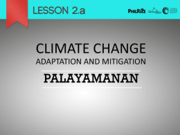 Lesson 2a – Adaptation & Mitigation