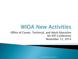 WIOA New Activities PPT - National Adult Education Professional