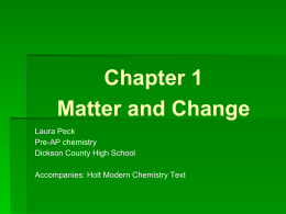 Chapter 1 Matter and Change