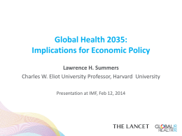 Global Health 2035: Implications for Economic Policy