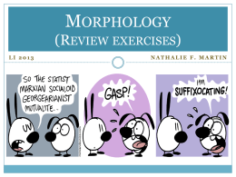 Morphology (review exercises for midterm)