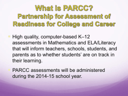 What is the PARCC handout - Monroe Township School District