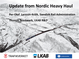 Update from Nordic Heavy Haul Per-Olof Larsson