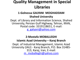 Quality Management in Special Libraries