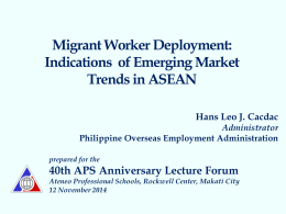 Atty. Hans Cacdac Migrant Worker Deployment
