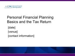 Financial Planning and the Tax Return