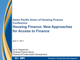 Capital Markets Practice - Asia Pacific Union For Housing Finance