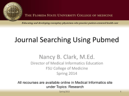Using Pubmed and Finding Full Text Journal Articles