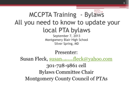 MCCPTA Training - Bylaws August 8, 2012 Montgomery Blair High