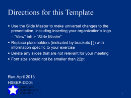 Final Planning Meeting Presentation Template