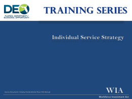 Workforce Investment Act Individual Service Strategy