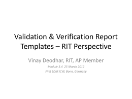 Validation & Verification Report Templates * RIT Perspective