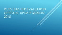 Slides from optional information sessions of teacher evaluations
