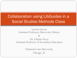 Collaboration using LibGuides in a Social Studies Methods Class