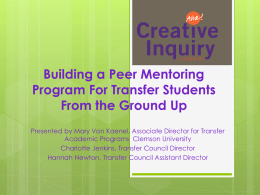 Building a Peer Mentoring Program For Transfer Students