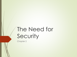 The Need for Security