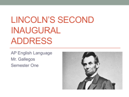 Lincoln`s Second Inaugural Address