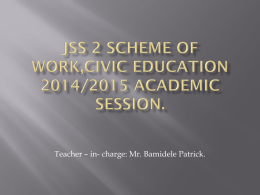 JSS 2 SCHEME OF WORK,CIVIC EDUCATION 2014/2015