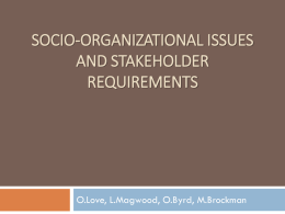 socio-organizational issues and stakeholder requirements