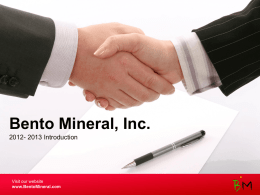 DOWNLOAD - Bento Mineral, Inc.