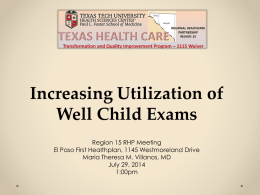 Increasing Utilization of Well Child Exams