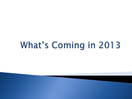 What*s Coming in 2013