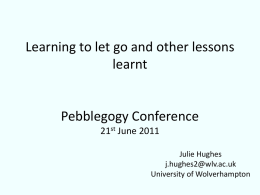 Learning to let go and other lessons learnt