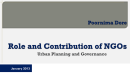 Role and Contribution of NGOs : Urban Planning